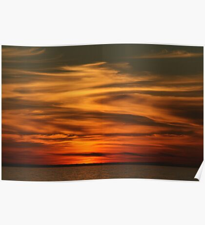 Sunset Central North Sea. Poster
