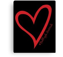 #BeARipple...Gratitude Red Heart on Black Canvas Print