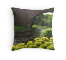 Bushes , Bridge and River Throw Pillow