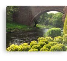 Bushes , Bridge and River Metal Print