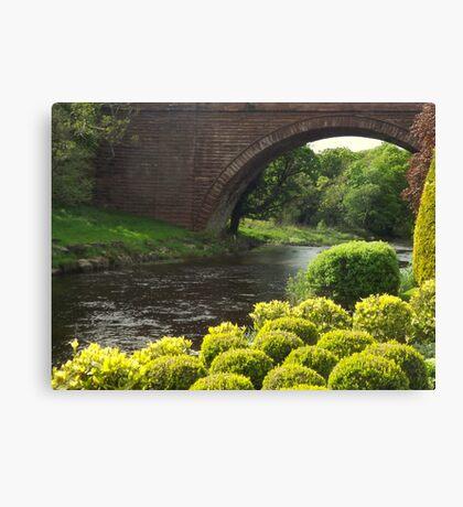 Bushes , Bridge and River Canvas Print
