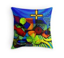 Objects on a Striped Cloth With a Blue Drape Throw Pillow