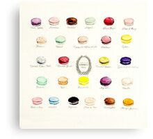 Laduree Macarons Flavor Menu Canvas Print