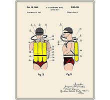 Jacques Cousteau Diving Unit Patent - Colour Photographic Print