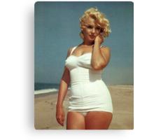 Marilyn Monroe White Swimsuit Canvas Print