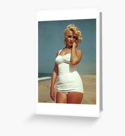 Marilyn Monroe White Swimsuit Greeting Card