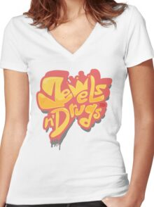 Jewels n Dr*gs Women's Fitted V-Neck T-Shirt
