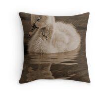 Cygnet In Sepia Throw Pillow