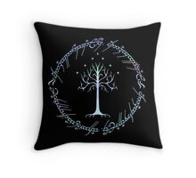 Tree of Gondor and One Ring Inscription, LOTR, Tolkien Throw Pillow
