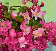 Vintage Pink Flowers in Aqua Tin Bucket by Carla Parris