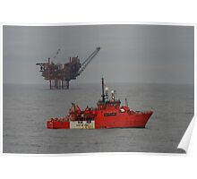 The Lomond Platform and the standby vessel Esvagt Supporter, central north sea. Poster