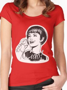 Ciao! - Retro - Woman on landline phone Women's Fitted Scoop T-Shirt