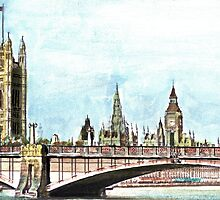 Lambeth Bridge and The Palace of Westminster. by Martin Kirkwood