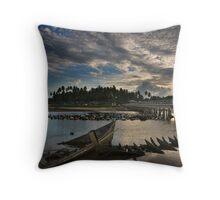East Coast Fishing Village Throw Pillow