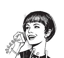 Hi! - Retro - Woman on landline phone by cool-tshirt-bro