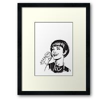 Hi! - Retro - Woman on landline phone Framed Print