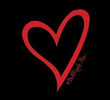 #BeARipple...Flow Red Heart on Black by BeARipple