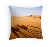 Camel Train Shadows by sunset Throw Pillow