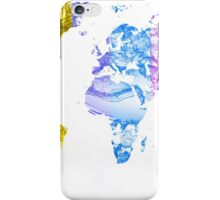World Map Water Splash Rainbow colors iPhone Case/Skin