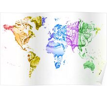 World Map Water Splash Rainbow colors Poster