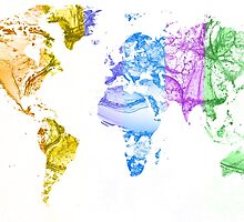 World Map Water Splash Rainbow colors by Eti Reid