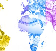 World Map Water Splash Rainbow colors Sticker