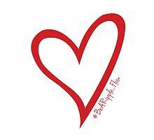 #BeARipple...Flow Red Heart on White by BeARipple