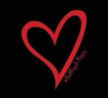 #BeARipple...Happy Red Heart on Black by BeARipple
