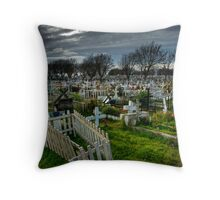 A day at the cemetery Throw Pillow
