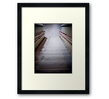 Steps Covered With Snow and Footprints at Night Framed Print