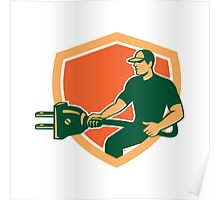 Electrician Carrying Electric Plug Shield Retro Poster