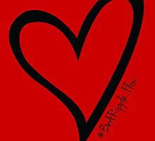 #BeARipple...Flow Black Heart on Red by BeARipple