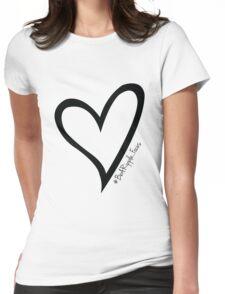 #BeARipple...Focus Black Heart on White Womens Fitted T-Shirt