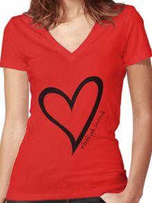 #BeARipple...GRATITUDE Black Heart on White Women's Fitted V-Neck T-Shirt