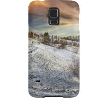 Countryside road at sunset, winter Samsung Galaxy Case/Skin