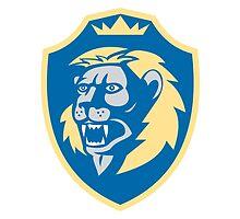 Angry Lion Head Roar Shield Retro by patrimonio