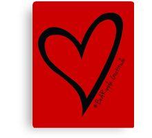 #BeARipple...Gratitude Black Heart on Red Canvas Print