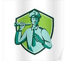 Policeman Flashlight Torch Pointing Shield Retro Poster