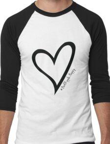 #BeARipple...Happy Black Heart on White Men's Baseball ¾ T-Shirt