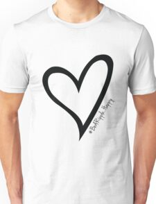 #BeARipple...Happy Black Heart on White Unisex T-Shirt