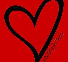 #BeARipple...Happy Black Heart on Red by BeARipple