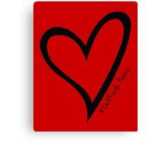 #BeARipple...Happy Black Heart on Red Canvas Print