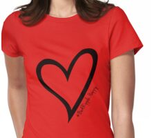 #BeARipple...Happy Black Heart on Red Womens Fitted T-Shirt