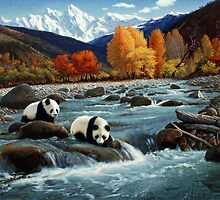 The Wu Shan Fairy Series Pandas Crossing River by Ze Zhao