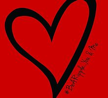 #BeARipple...You & Me Black Heart on Red by BeARipple