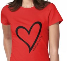 #BeARipple...You & Me Black Heart on Red Womens Fitted T-Shirt
