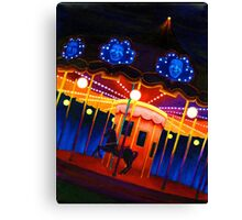 Carousel , Oil Painting bright night carnival creepy scene , Illustration Art Print  Canvas Print
