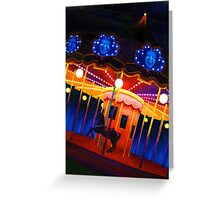 Carousel , Oil Painting bright night carnival creepy scene , Illustration Art Print  Greeting Card