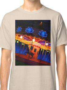 Carousel , Oil Painting bright night carnival creepy scene , Illustration Art Print  Classic T-Shirt