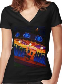 Carousel , Oil Painting bright night carnival creepy scene , Illustration Art Print  Women's Fitted V-Neck T-Shirt